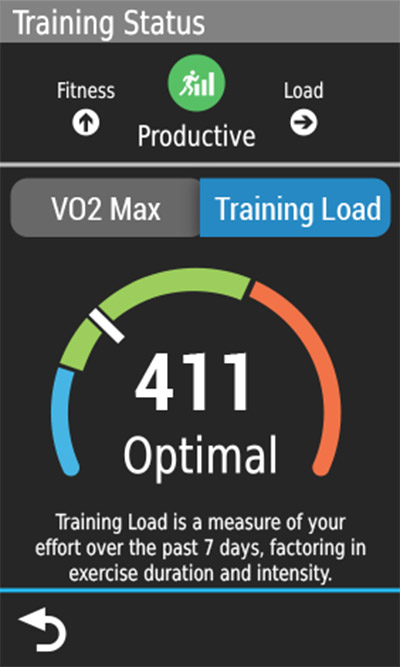 An Edge device screen displaying the training load dial.