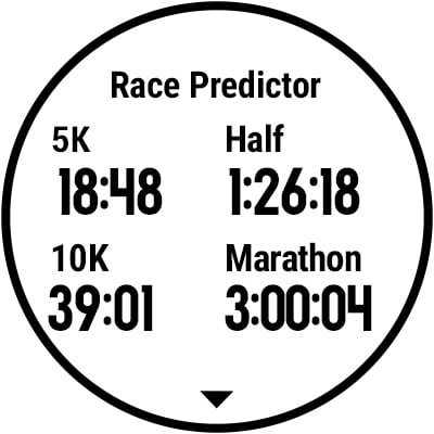 A watch screen showing race predictor.