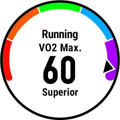 A watch screen showing VO2 max.